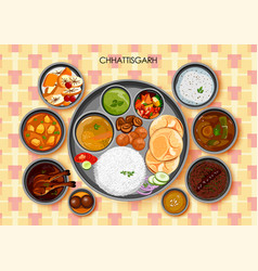 traditional chhattisgarhi cuisine and food meal vector image