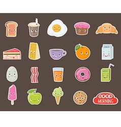 Breakfast Different emotions stickers collection vector image vector image