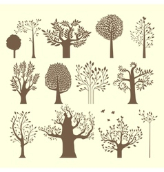 Brown trees set vector image vector image