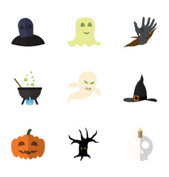flat icon halloween set of witch cap gourd tomb vector image