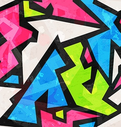 graffiti geometric seamless pattern with grunge vector image vector image