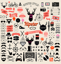 vintage styled design hipster icons vector image vector image