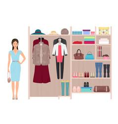 Beautiful fashion lady and women s wardrobe vector image vector image