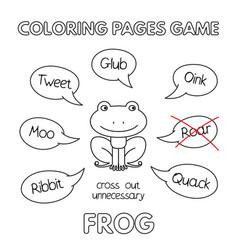 Cartoon frog coloring book vector