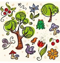 Doodle Nture Set vector image