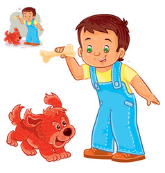 little boy holding a bone in his hand and vector image