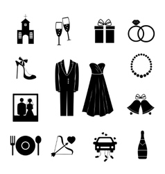 Set of black silhouette wedding icons vector image