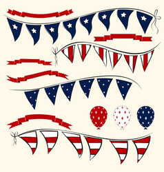 set of patriotic elements vector image vector image