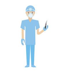 surgeon professional scalpel head mirror uniform vector image