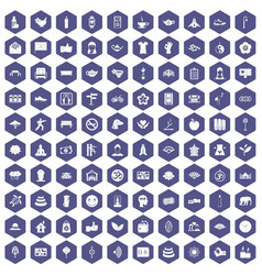 100 yoga studio icons hexagon purple vector