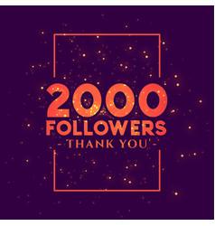 2000 followers congratulation template for social vector