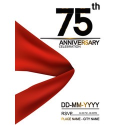 75 anniversary design with big red ribbon vector