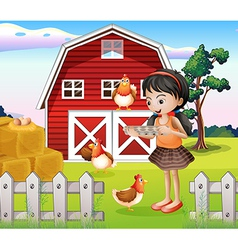 A girl with their farm animals vector image