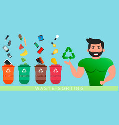 a strong man informs about garbage sorting vector image