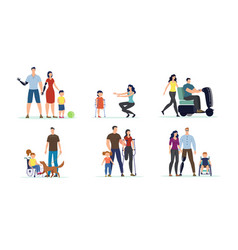 Adults and children with disabilities set vector