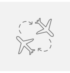Airplanes line icon vector image