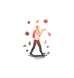 autumn man fall walking season concept hand vector image