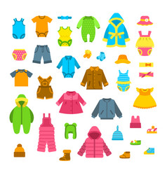 Baby clothes flat set vector