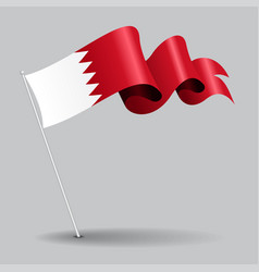 Bahrain pin wavy flag vector