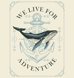 banner with hand-drawn whale and compass with vector image