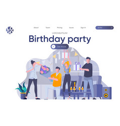 birthday party landing page with header vector image