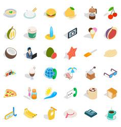 Breakfast icons set isometric style vector