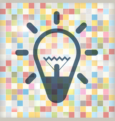 bulb icon on colorful squares background lamp vector image