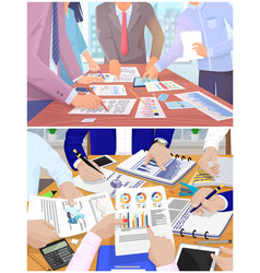 Business meeting in office hands write work vector