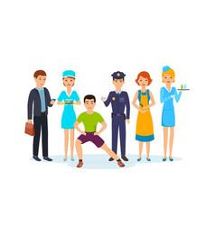 businessman nurse trainer officer hairdresser vector image