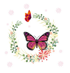 Butterfly and flower ring background image vector