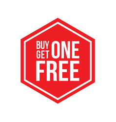 Buy one get one free sign hexagon vector