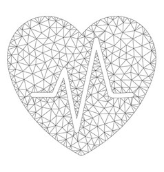 Cardiology heart pulse polygonal frame mesh vector