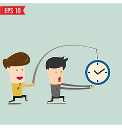 Cartoon Business man trying to reach a clock - vector