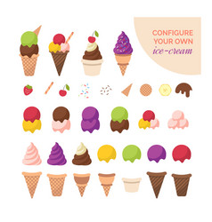 cartoon color ice cream constructor icon set vector image