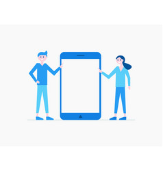 cartoon man and woman with modern gadget vector image