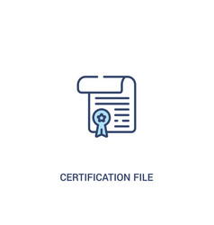 Certification file concept 2 colored icon simple vector