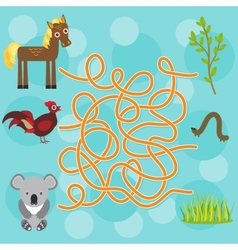 chicken horse koala labyrinth game for Preschool vector image