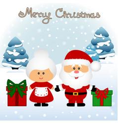 Christmas card funny postcard with mrs santa vector