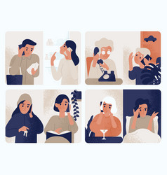 Collection of people talking on mobile phone vector