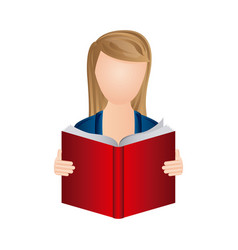 color woman to read a book icon vector image