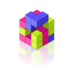 colour isometric cube with reflection vector image