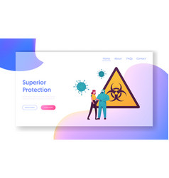 covid19 quarantine landing page template doctor vector image