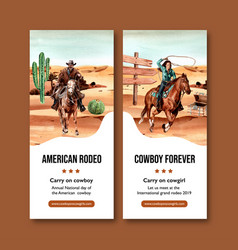 Cowboy flyer design with horse person cactus vector