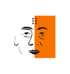 Creative monk face line art vector