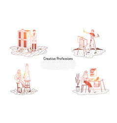 creative professions - painter designer vector image