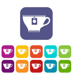 Cup with teabag icons set vector