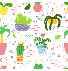 cute seamless pattern with house plants vector image