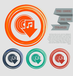 download music icon on the red blue green orange vector image