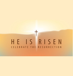 Easter banner with a shining cross and inscription vector