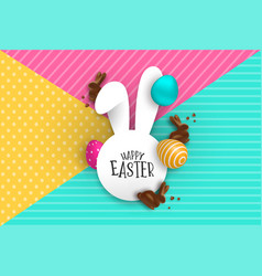 easter paper card chocolate bunny and 3d eggs vector image